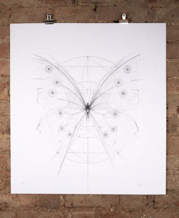 Morpho Butterfly – Gold Geometry & Silver Skeleton