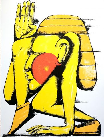 Going Ahead - Hand-Finished - Yellow And Red