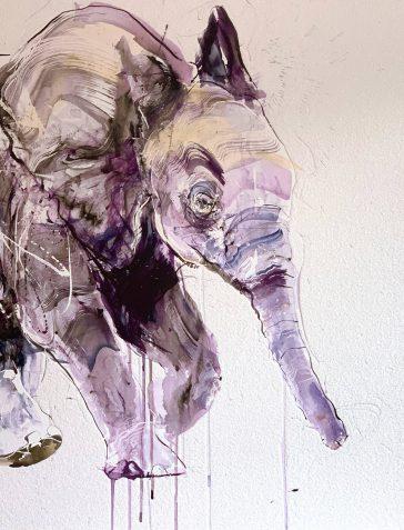 Young Elephant II - Large Diamond Dust